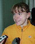 Рекордсменка мира по прыжкам с шестом Светлана Феофанова общается с журналистами